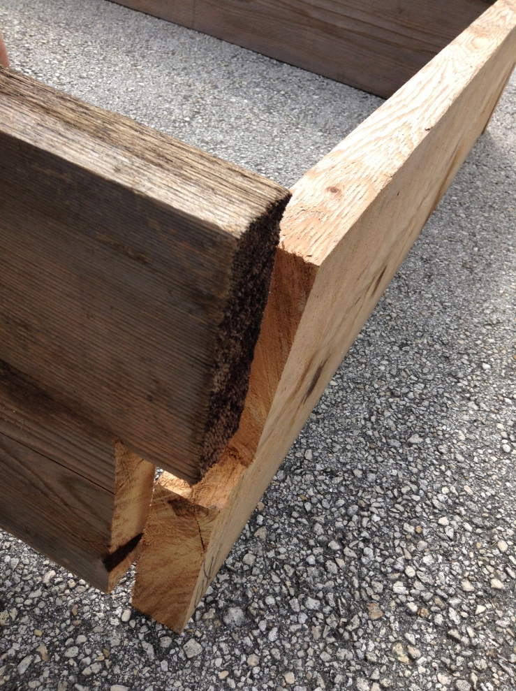 The joinery of the raised beds. This beautiful Cedar wood was donated to a new friend, James Jackman who is making a nearby demonstration garden called Gladiolus. He received 10000 dollars worth of soon to be trashed wood and donated to us 6 raised beds worth!